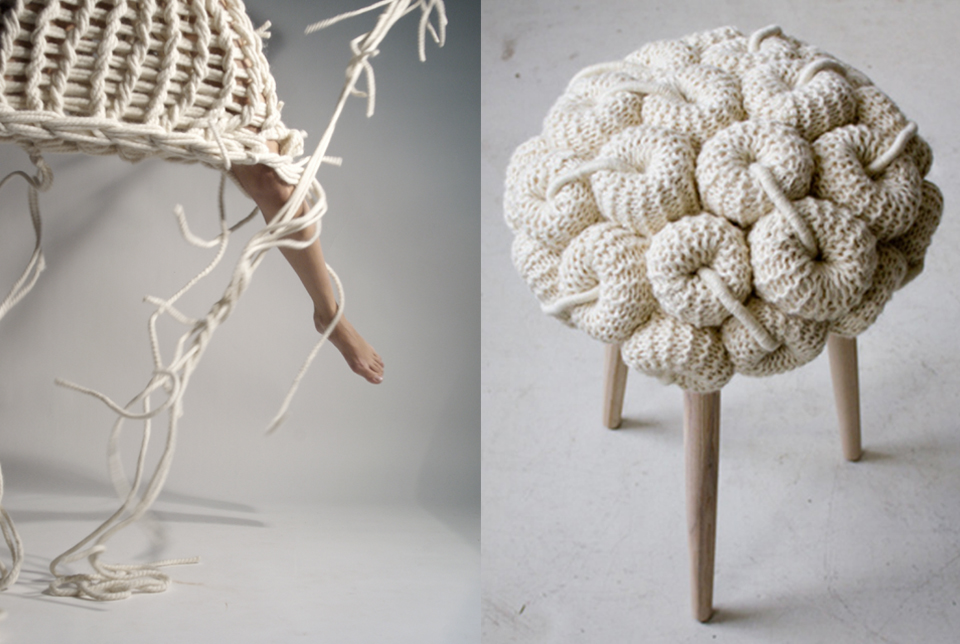 Left  textiles by Nanna Van Blaaderen - right Knit Stool by Claire-Anne O'Brien