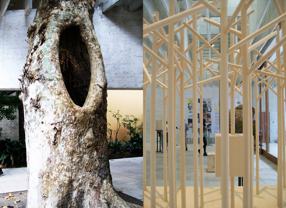 Left : detail of the pavilion - Right : Tham & Videgard - Photos by Magda di Viena