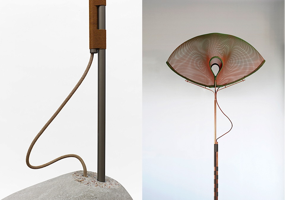 Left : Gi Cord detail. Right: Meiyo Mesh Lamp. Photos by Fabrice Gousset
