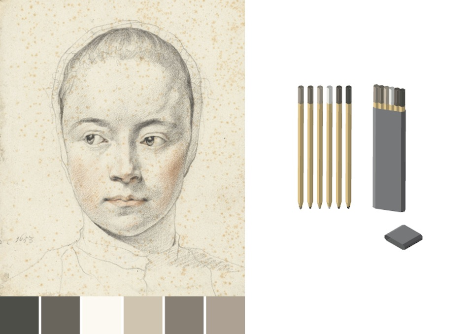Make-up pencil set based on color swatches of Leendert van der Cooghen portrait - design by Asnate Bockis&Rogier Arents