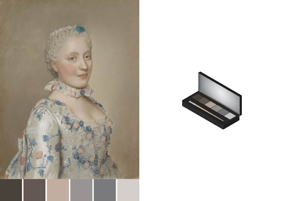 Eye shadows based on color swatches of Jean-Etienne Liotard portrait - design by Asnate Bockis&Rogier Arents