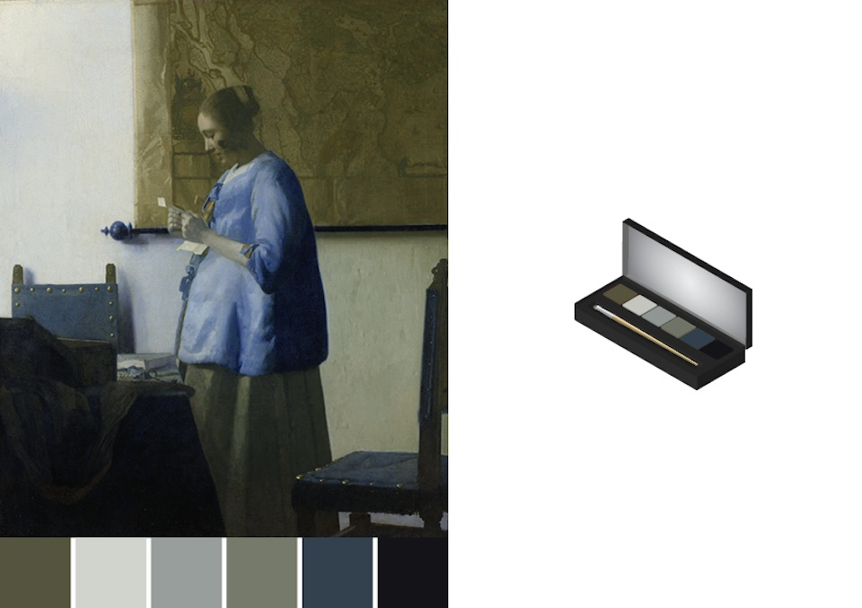 Eye-shadows based on color swatches of Johannes Vermeer painting -design by Asnate Bockis&Rogier Arents